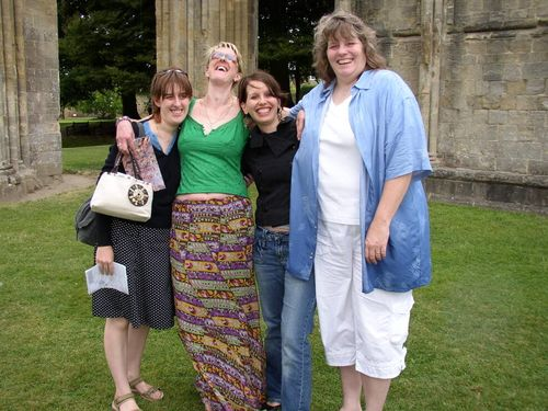 Glastonbury - Jen, Amanda and two others smiling and laughing