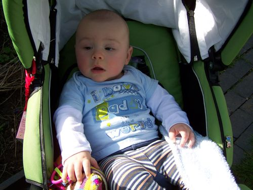 Little man in his pushchair