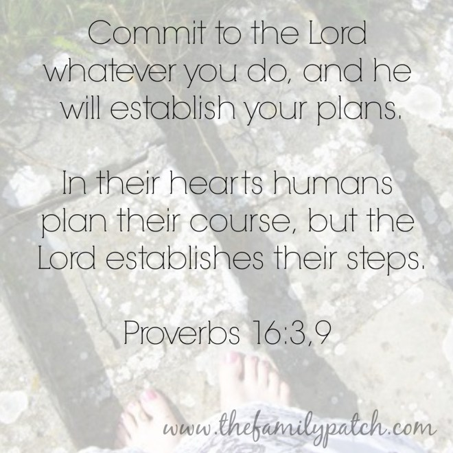 Commit to the Lord whatever you do and he will establish your path proverbs 16:3