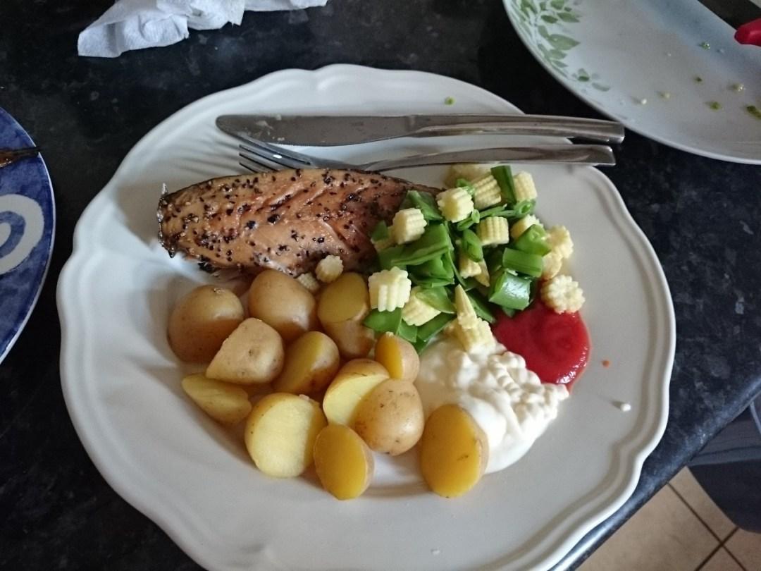 smoked mackerel dinner