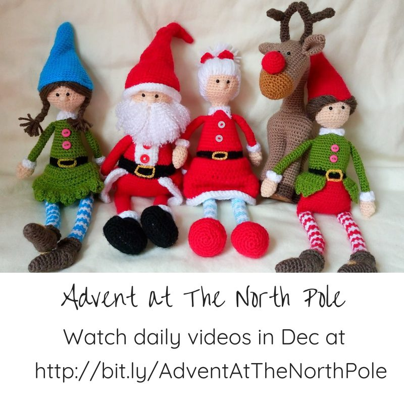 crocheted dolls of Santa, Mrs Claus, Rudolph, and two Elves