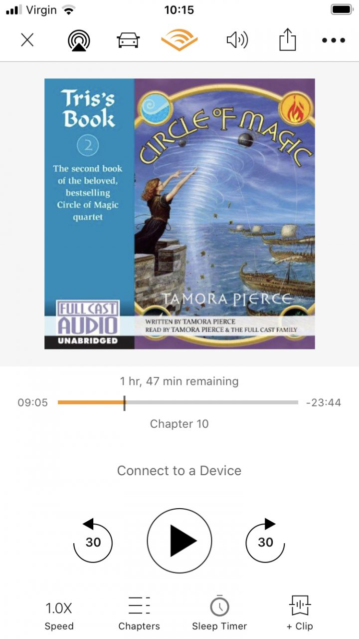 Screenshot of Audible showing the book Circle of Magic Tris's Book by Tamora Pierce and read by Full Cast Audio