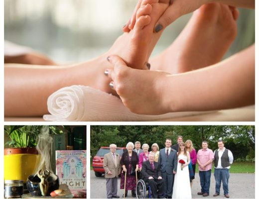 collage of 3 images - a woman receiving reflexology treatment, a collection of spiritual items including incense and oracle cards, and a wedding photo.