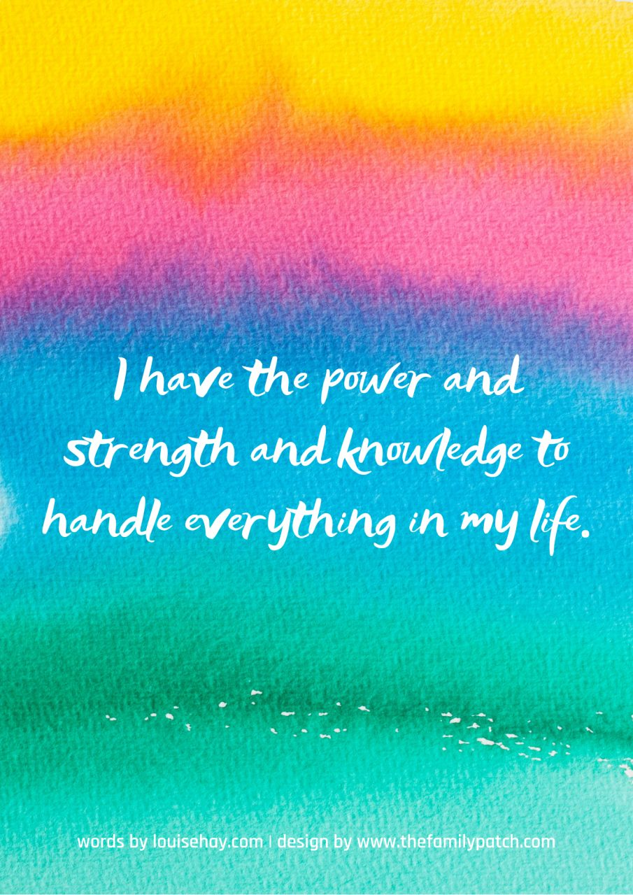 "rainbow watercolour gradient background with affirmation in white text, ""I have the power and strength and knowledge to handle everything in my life""."