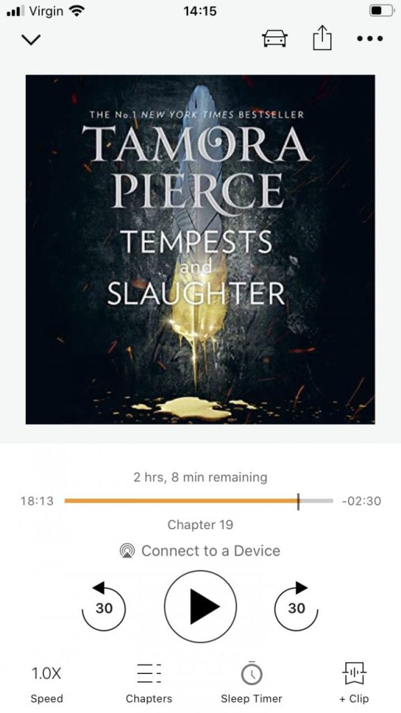 screenshot of Audible version of Tamora Pierce's Tempests and Slaughter
