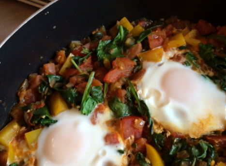Spinach and Tomato Huevos Rancheros