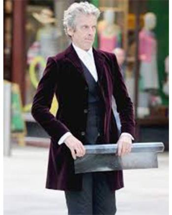 12th Doctor Who Peter Capaldi Maroon Velvet Coat