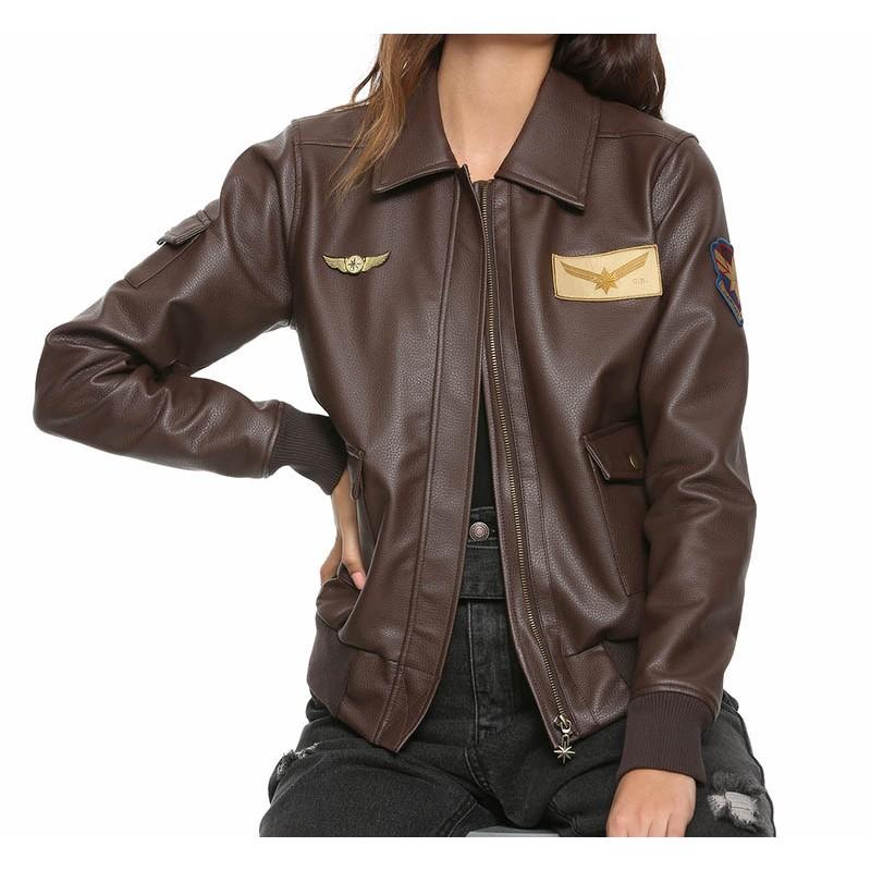 Brie Larson Captain Marvel Aviator Brown Bomber Leather Jacket
