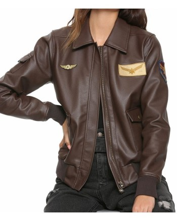 Brie Larson Captain Marvel Aviator Brown Bomber Leather Jacket