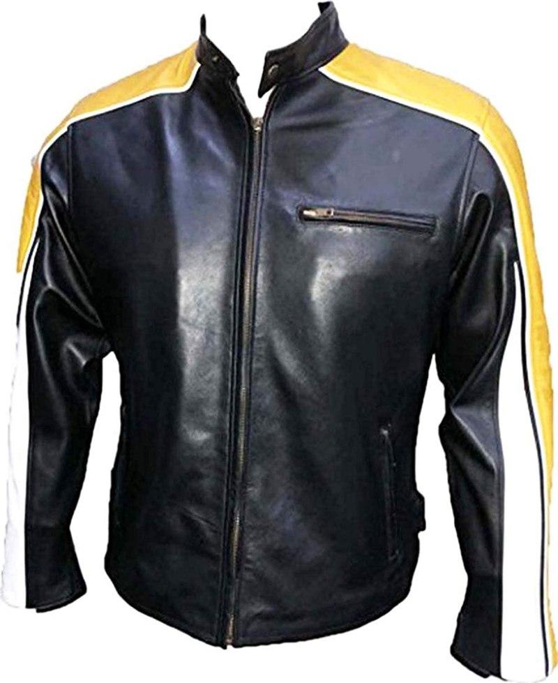 Cafe Racer Hulk Hogan Black Biker Leather Jacket for Men