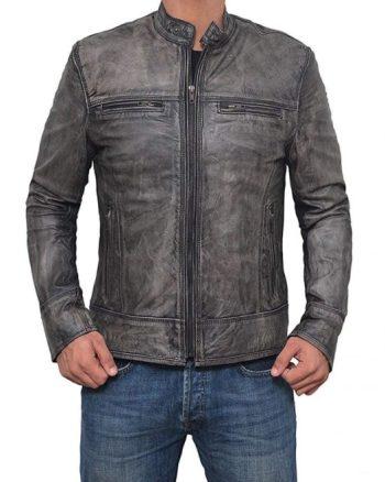 Garcia Distressed Dark Grey Casual Biker Slim Leather Jacket