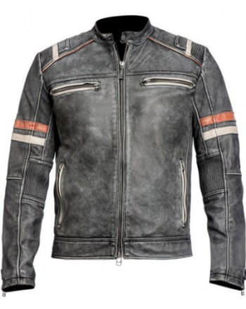 Retro 2 Striped Men's Grey Biker Leather Jacket