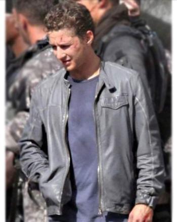 Stylowears Men's Grey Shia LaBeouf Transformers 3 Real Leather Jacket