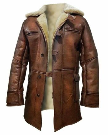 TOM HARDY BANE MENS REAL SHEARLING LEATHER COAT
