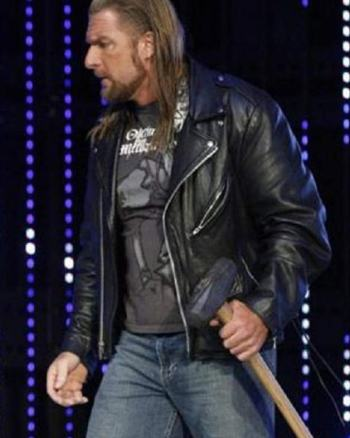 WWE WRESTLER TRIPLE H BLACK LEATHER JACKET