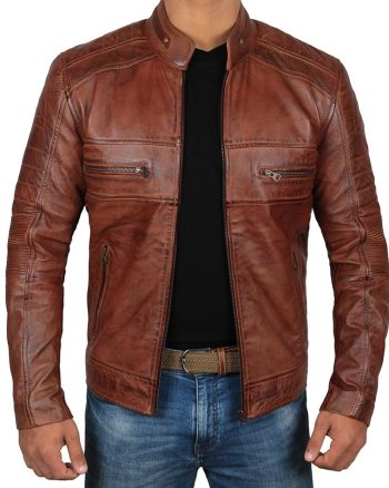 AUSTIN Retro Cafe Racer Leather Jacket