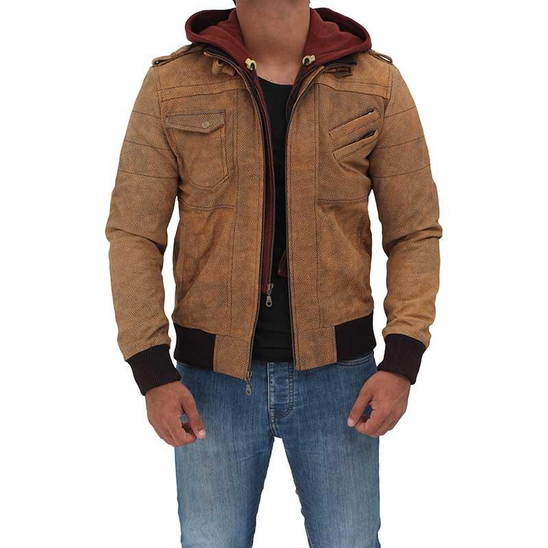 Edinburgh Distressed Hooded Brown Leather Jacket
