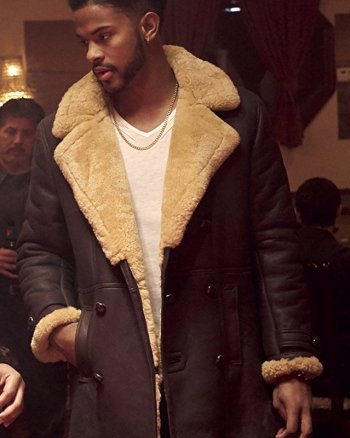 Superfly Trevor Jackson Brown Leather Shearling Coat