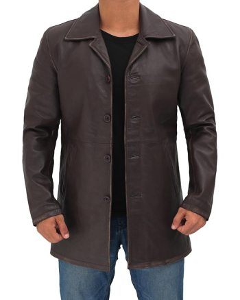 Winchester Distressed Brown Mens Leather Car Coat Jacket