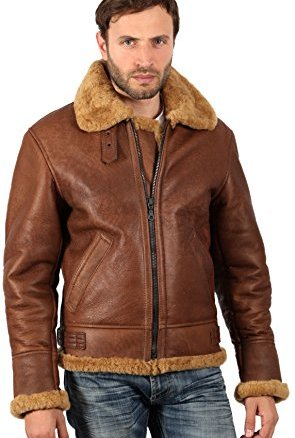 Infinity Men's Brown B3 Aviator Sheepskin WW2 Bomber Leather Pilot Jacket