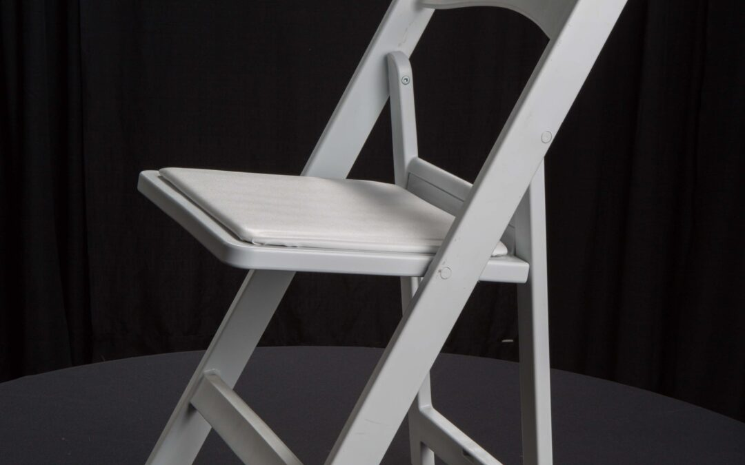 steel chair for tent house plastic covers party city rentals white wood rs bounce
