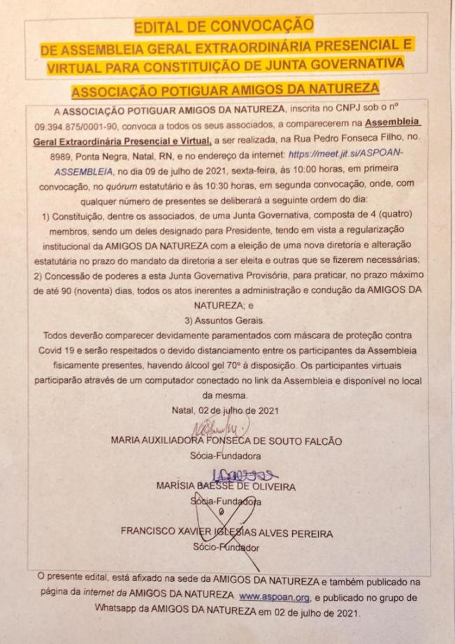  EDITAL DE CONVOCAÇÃO DE ASSEMBLEIA GERAL EXTRAORDINÁRIA PRESENCIAL E VIRTUAL PARA CONSTITUIÇÃO DE JUNTA GOVERNATIVA