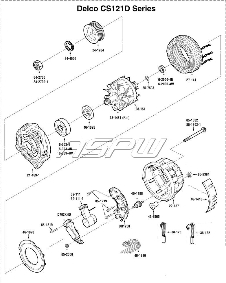 10si Parts Diagram Delco 10si Alternator Wiring Diagram