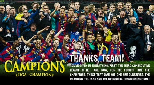 FC Barcelona Team in Champions League Final May 29th 2011