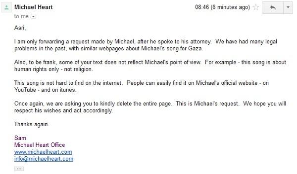 Email dari Pihak Michael Heart