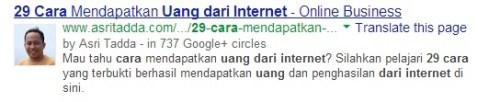 SERP dengan Google+ Profile Pic