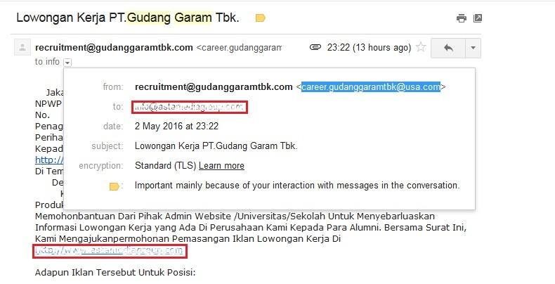 Email Lowongan Kerja atas nama PT Gudang Garam