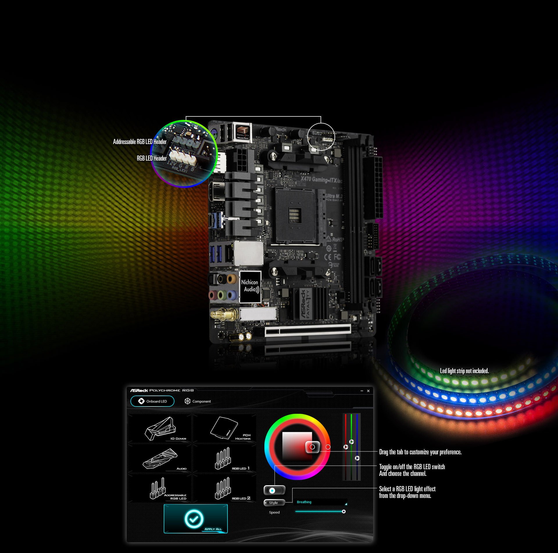 5050 led strip wiring diagram 12 volt ammeter asrock fatal1ty x470 gaming itx ac the rgb header supports standard 12v g r b with a maximum power rating of 3a and length within 2 meters