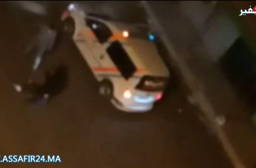 لحظة اطلاق الرصاص لشل حركة مجرم يحمل سيف بسلا