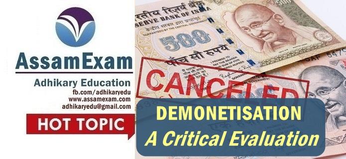 demonatisation analysis - Assam Exam