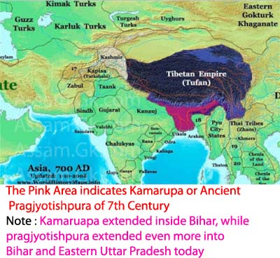 Map Of Asia In 700 Ad.Ancient Pragyotishpur And Kamarupa With Geographical Extent In Map