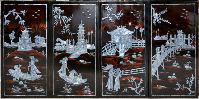 Vietnamese Lacquer Painting With Mother Of Pearl Inlay