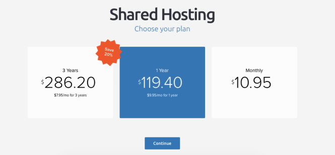 Dreamhost choose plan