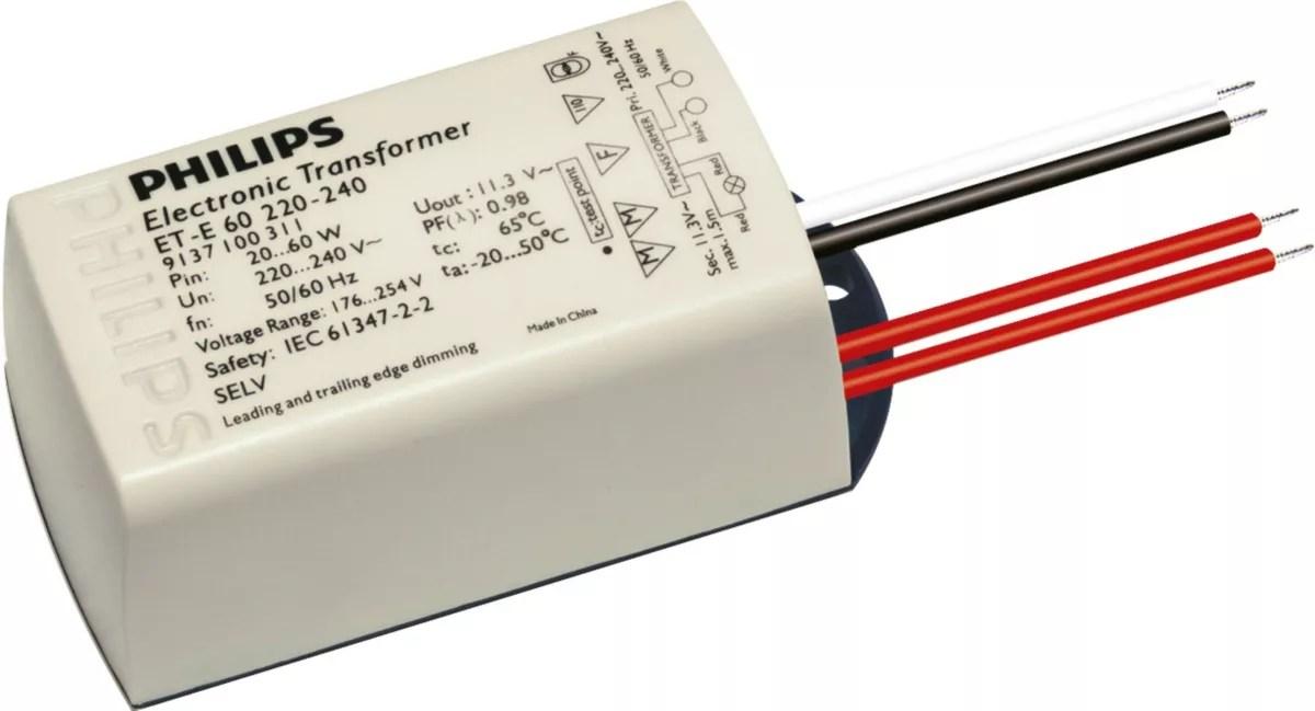 240v to 12v transformer wiring diagram 1990 honda accord stereo et e 60 220 50 60hz electronic transformers philips lighting