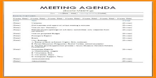 The template content will appear in your agenda. Sample Formal Meeting Agenda Format Assignment Point