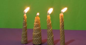 velas de cera de abelha espirais