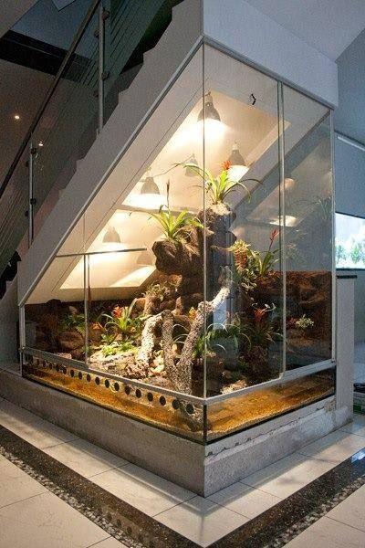 terrario de vidro ocupando todo o espaço abaixo de uma escada