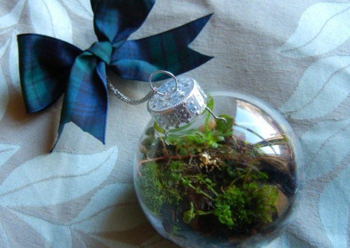 bolinha de natal de vidro com plantas dentro