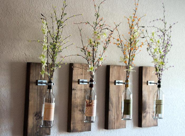 4 floreros garrafa vinho pendurados madeira restaurada