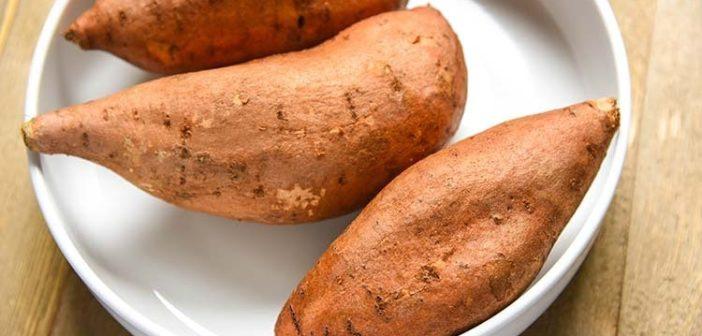 3 batatas doces dentro do prato