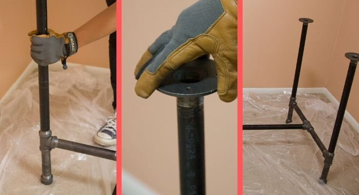 mesa pés tubo galvanizado
