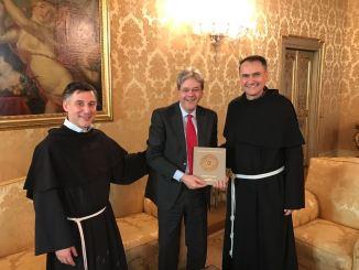 Presidente Consiglio Paolo Gentiloni ad Assisi per Festa San Francesco