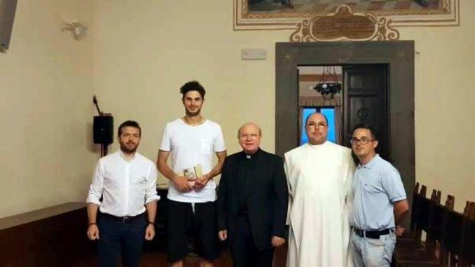 Andrea Ranocchia, calciatore dell'Inter, in visita al Museo della Memoria di Assisi
