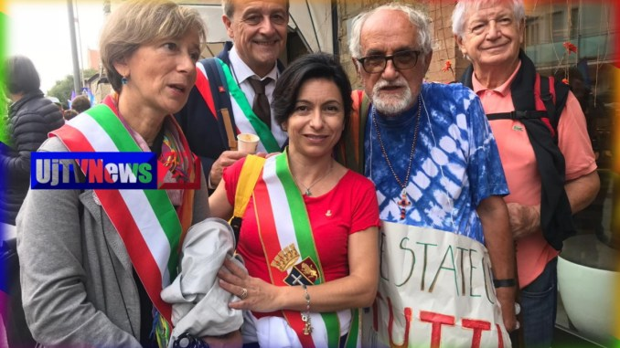 Sindaco Proietti e Alex Zanottelli a Marcia PerugiAssisi, mai più guerre