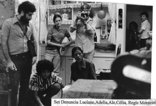 Adélia Sampaio e atores no set de filmagens. Foto: Arquivo pessoal