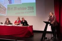 Intervention de Mohamed Khadad qui annonce les 6 plaintes engagées en France par la Front Polisario, salle des Congrès de Gonfreville